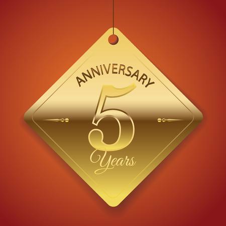 5 周年記念ポスター テンプレート タグ設計のベクトルの背景