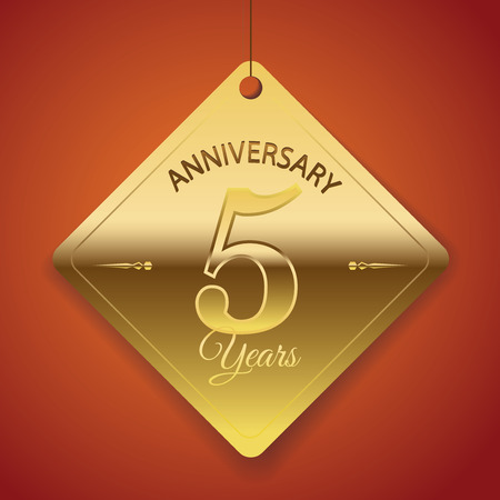 5th Anniversary poster   template  tag design Vector Background