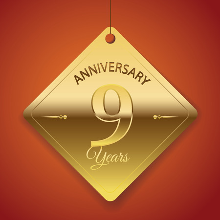9th: 9th Anniversary poster   template  tag design Vector Background  Illustration