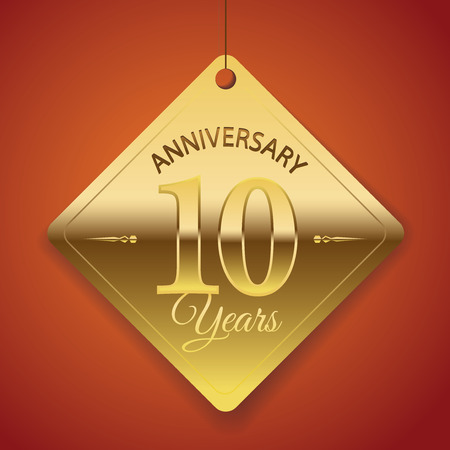 10th: 10th Anniversary poster   template  tag design Vector Background Illustration