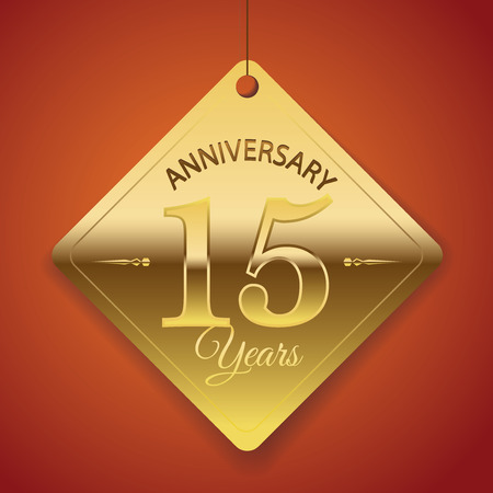 number 15: 15th Anniversary poster   template  tag design Vector Background