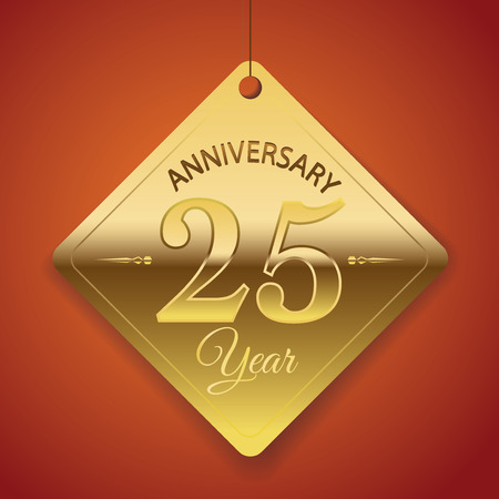 anniversary backgrounds: 25th Anniversary poster   template  tag design Vector Background  Illustration