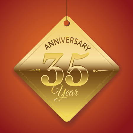 35 years: 35th Anniversary poster   template  tag design Vector Background