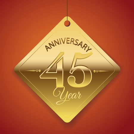 45th: 45th Anniversary poster   template  tag design Vector Background