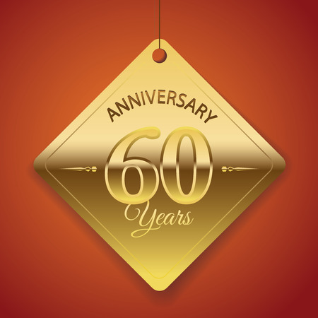 sixtieth: 60th Anniversary poster   template  tag design Vector Background