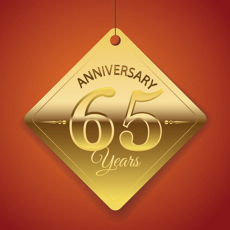 65th: 65th Anniversary poster   template  tag design Vector Background