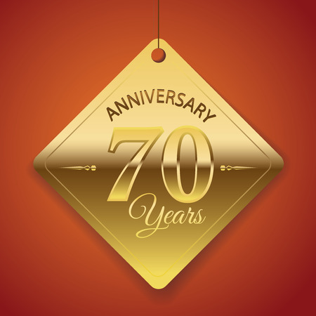 seventieth: 70th Anniversary poster   template  tag design Vector Background