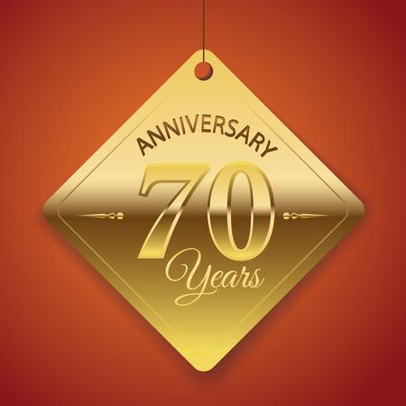 seventieth: 70th Anniversary poster   template  tag design Vector Background