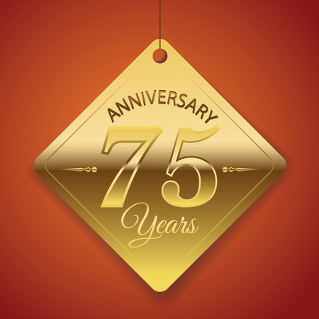 75th Anniversary poster   template  tag design Vector Background