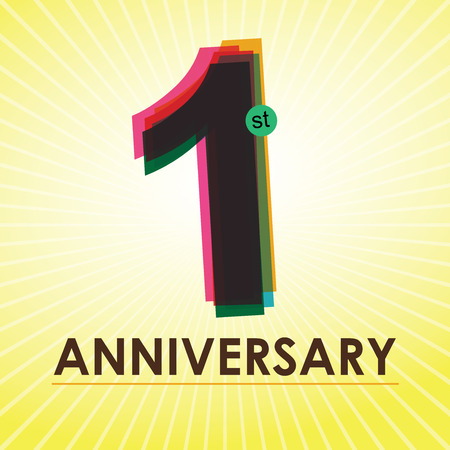 one year old: 1st Anniversary poster   template design in retro style  Illustration
