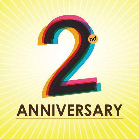two year: 2nd Anniversary poster   template design in retro style
