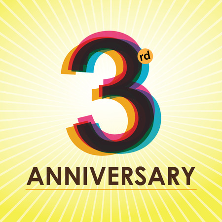 anniversary backgrounds: 3rd Anniversary poster   template design in retro style Illustration