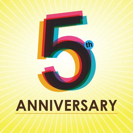 5th: 5th Anniversary poster   template design in retro style
