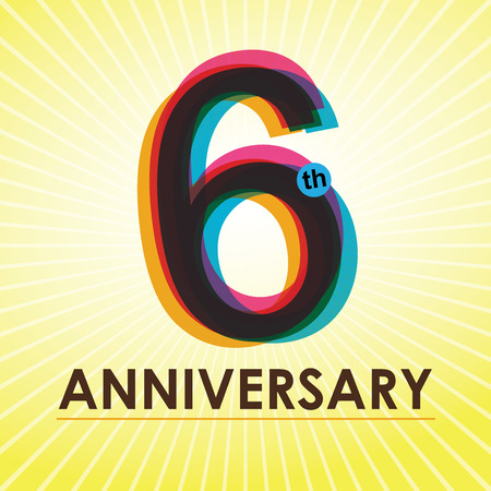 six year old: 6th Anniversary poster   template design in retro style