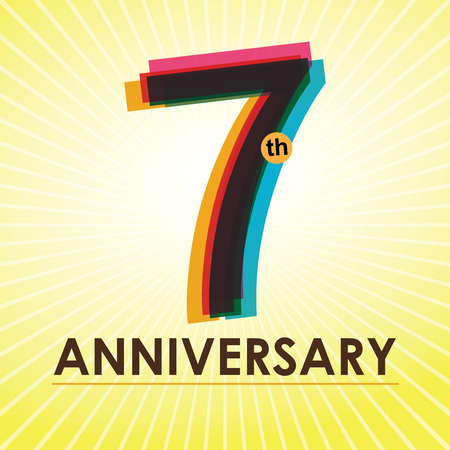 seven years: 7th Anniversary poster   template design in retro style Illustration