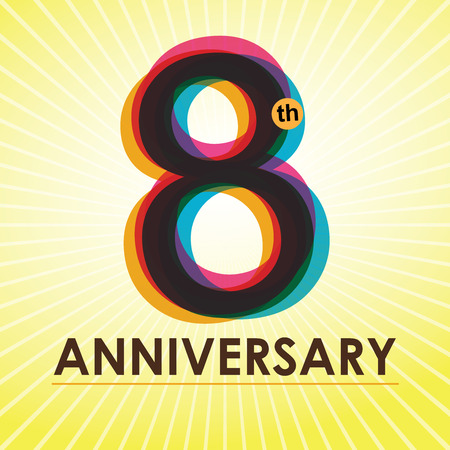 eight years old: 8th Anniversary poster   template design in retro style  Illustration