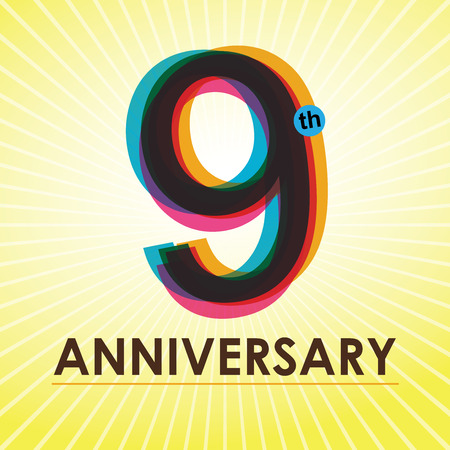 9th: 9th Anniversary poster   template design in retro style