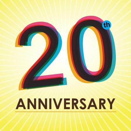 レトロなスタイルの 20 周年記念ポスター テンプレート デザイン