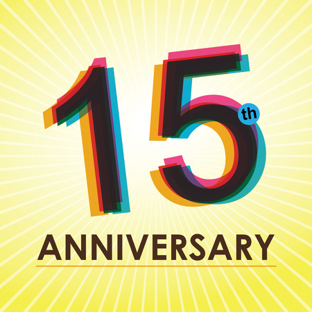 15: 15th Anniversary poster   template design in retro style