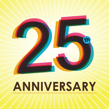 25th Anniversary poster   template design in retro style  Illustration