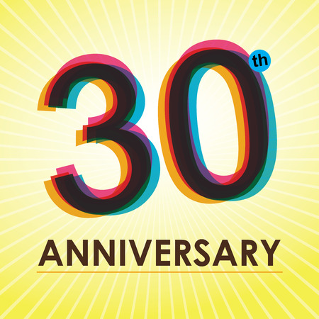 anniversary backgrounds: 30th Anniversary poster   template design in retro style Illustration