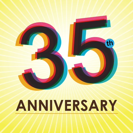 35 years: 35th Anniversary poster   template design in retro style