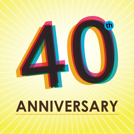 40th: 40th Anniversary poster   template design in retro style  Illustration
