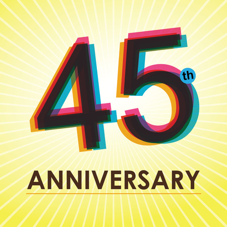 45 years old: 45th Anniversary poster   template design in retro style
