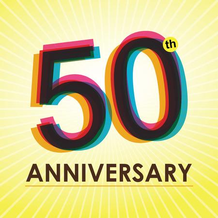 50: 50th Anniversary poster   template design in retro style