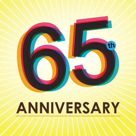 65th: 65th Anniversary poster   template design in retro style Illustration
