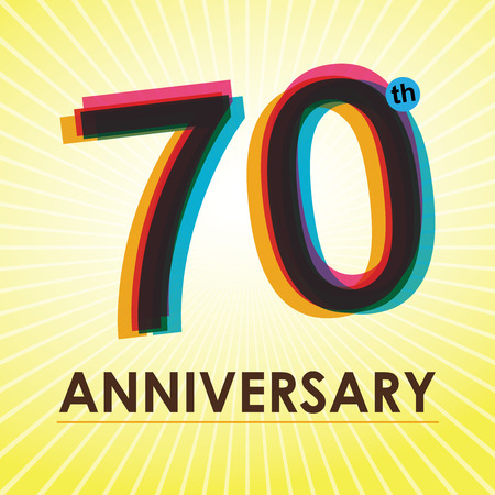 70th Anniversary poster   template design in retro style  Vector
