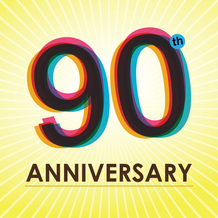 90th Anniversary poster   template design in retro style  Vector