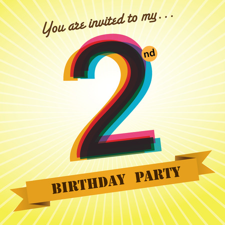 2 years old: 2nd Birthday party invite template design retro style - Vector