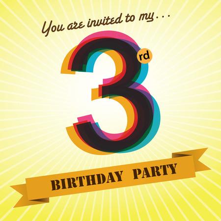 third birthday: 3rd Birthday party invite template design retro style - Vector Illustration