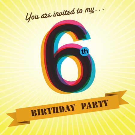 six year old: 6th Birthday party invite template design retro style - Vector