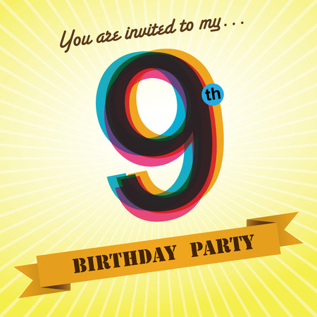 9th: 9th Birthday party invite template design retro style - Vector  Illustration