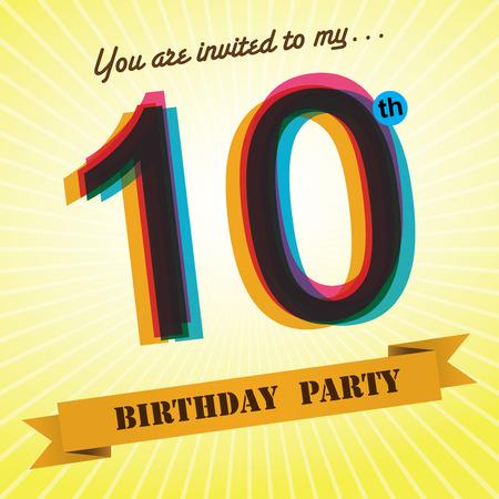 tenth birthday: 10th Birthday party invite template design retro style - Vector