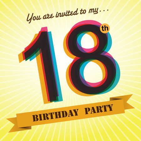 18th: 18th Birthday party invite template design retro style - Vector
