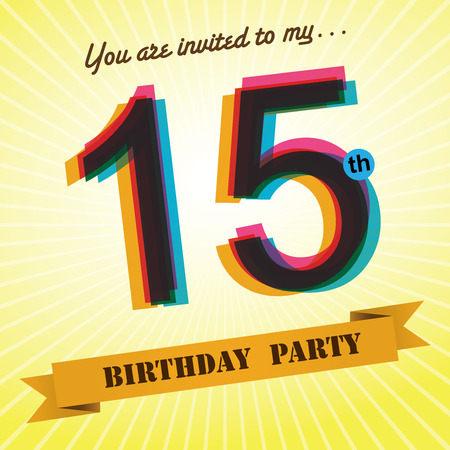 fifteen year old: 15th Birthday party invite template design retro style - Vector Illustration