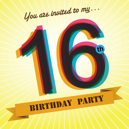 sixteen year old: 16th Birthday party invite template design retro style - Vector