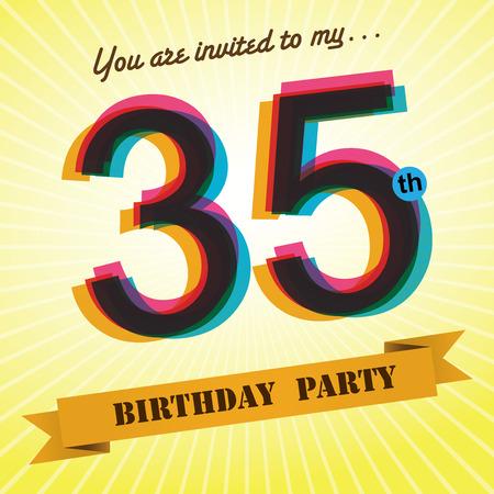 35th: 35th Birthday party invite template design retro style - Vector