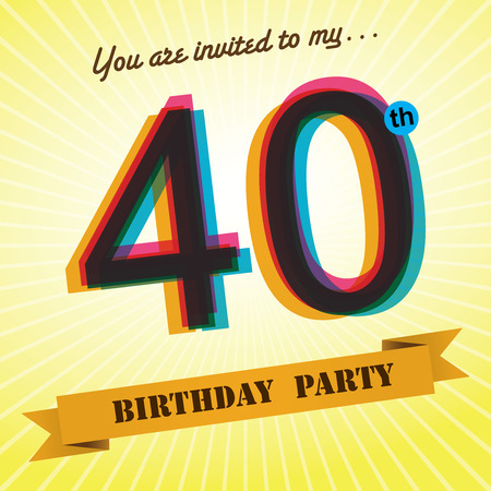 40th Birthday party invite template design retro style - Vector  일러스트