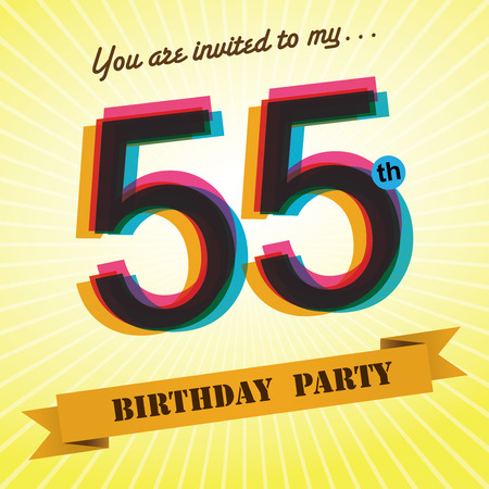 55 years old: 55th Birthday party invite template design retro style - Vector