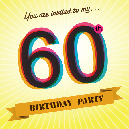 60 years: 60th Birthday party invite template design retro style - Vector