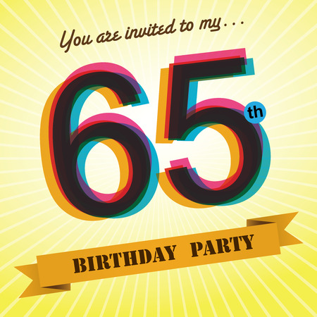 65th: 65th Birthday party invite template design retro style - Vector