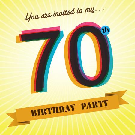 seventieth: 70th Birthday party invite template design retro style - Vector Illustration