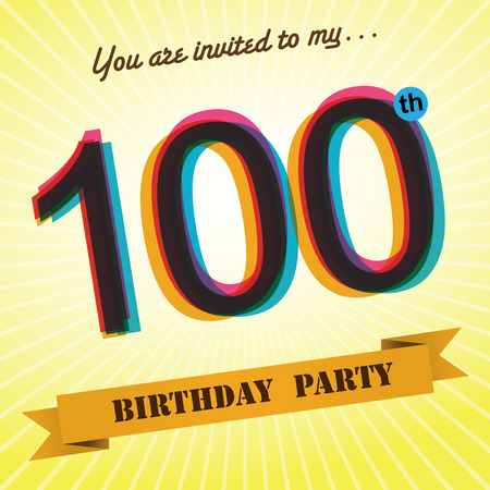 one year old: 100th Birthday party invite template design retro style -Vector