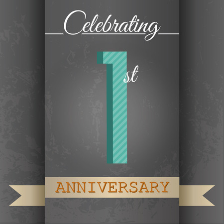 1st Anniversary poster   template design in retro style - Vector Background
