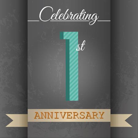 one year old: 1er Aniversario dise�o de la plantilla del cartel estilo retro - vector del fondo Vectores