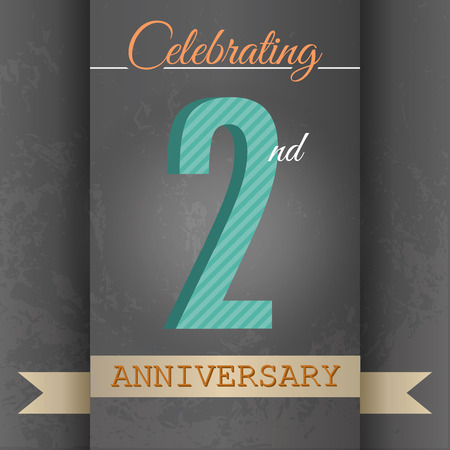 2nd Anniversary poster template design in retro style-Vector Background Vector